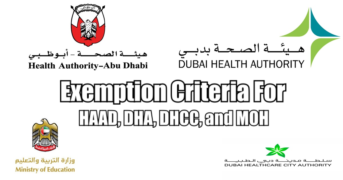 Exemption Criteria for HAAD, DHA, DHCC, and MOH Licensing Exam