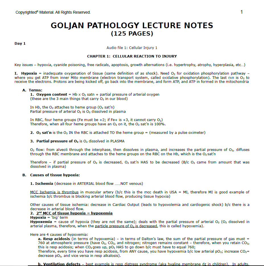 Goljan Pathology Lecture Notes PDF Free Download | [Direct Link]